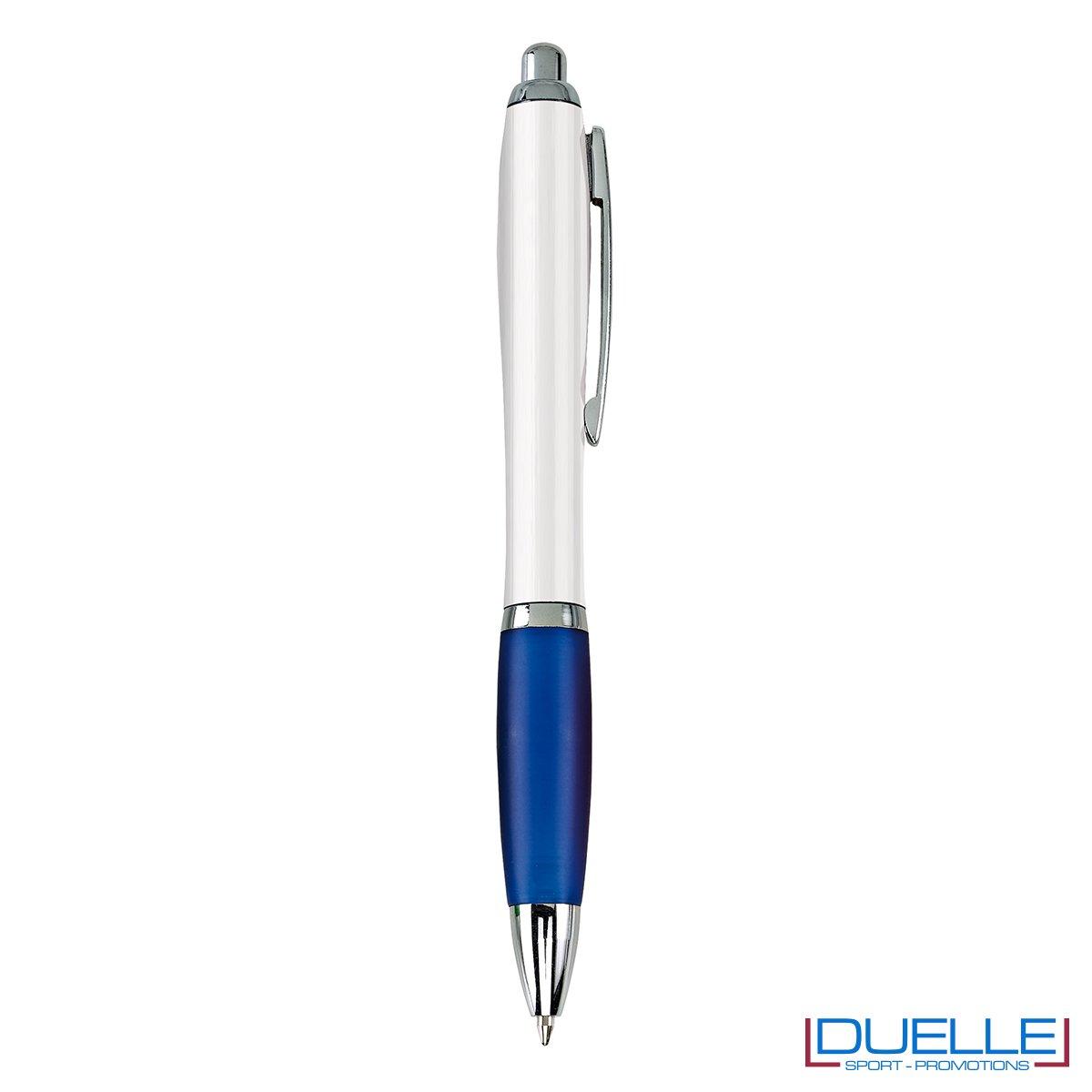 Penna economica personalizzata fusto bianco impugnatura soft touch colore blu