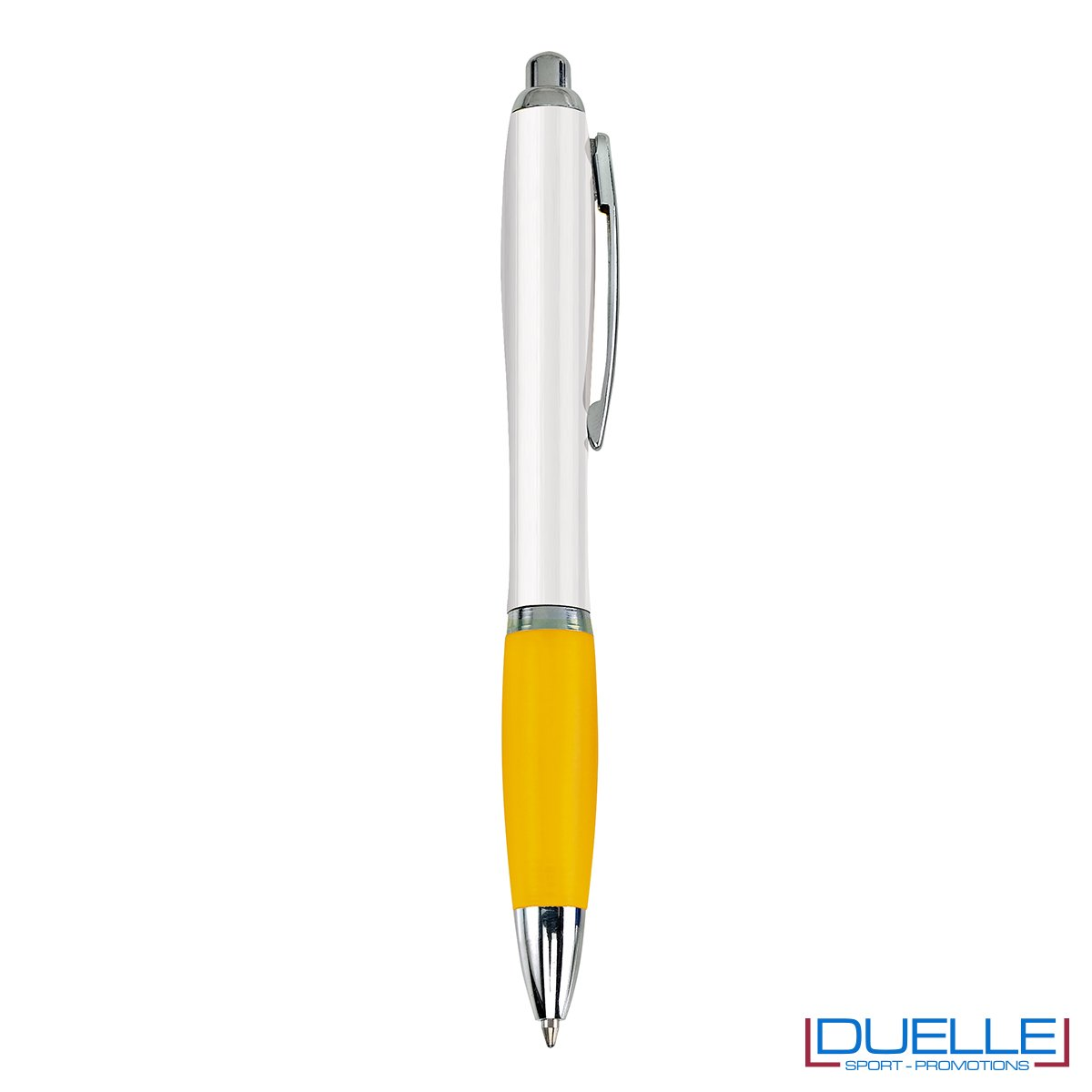 Penna economica personalizzata fusto bianco impugnatura soft touch colore giallo