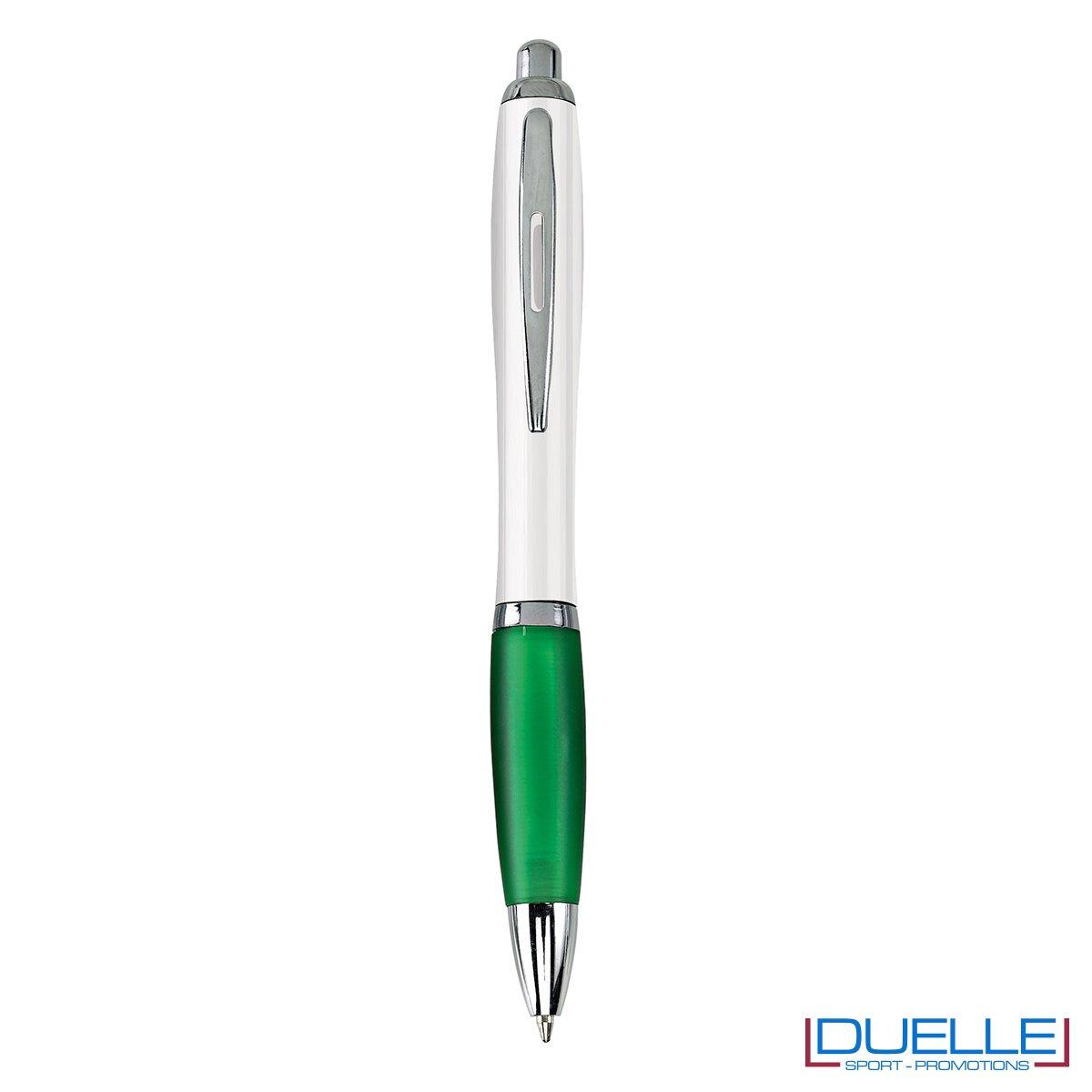 Penna economica personalizzata fusto bianco impugnatura soft touch colore verde