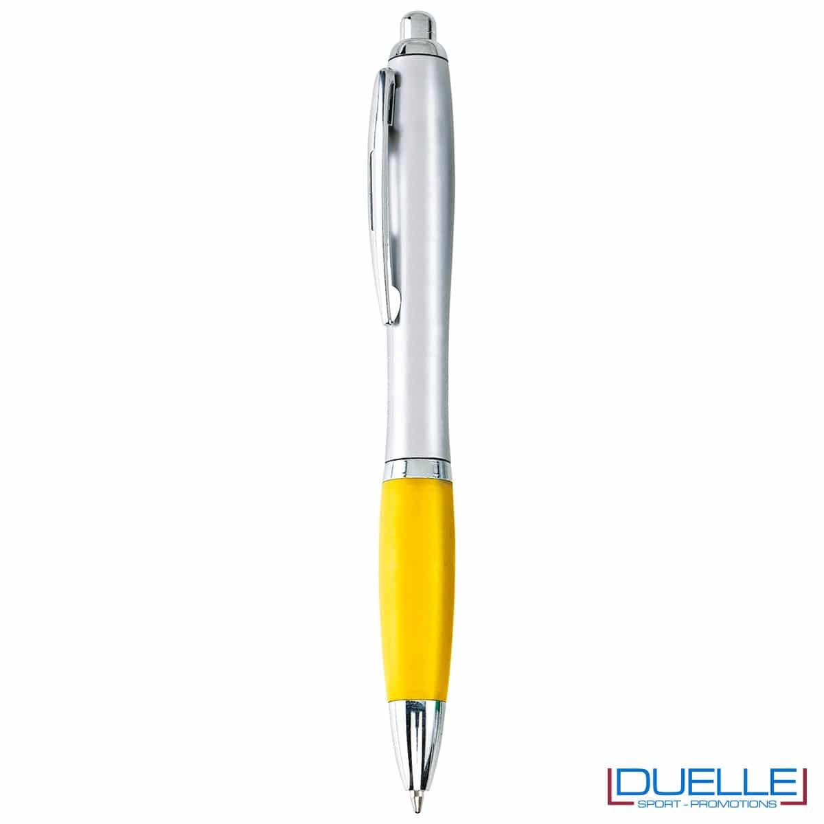 Penna economica personalizzata fusto silver impugnatura colore giallo