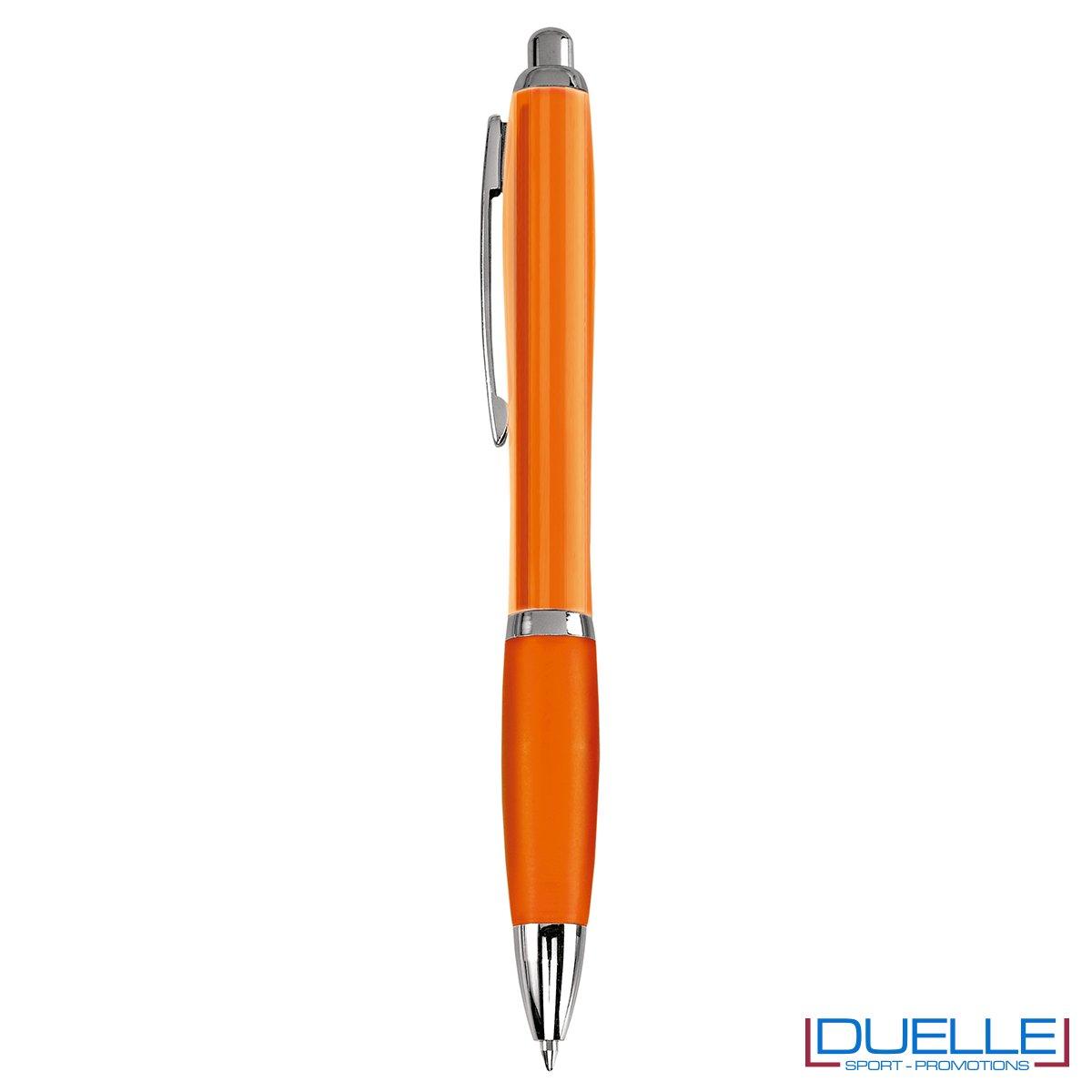 penna personalizzabile economica con fusto trasparente arancione
