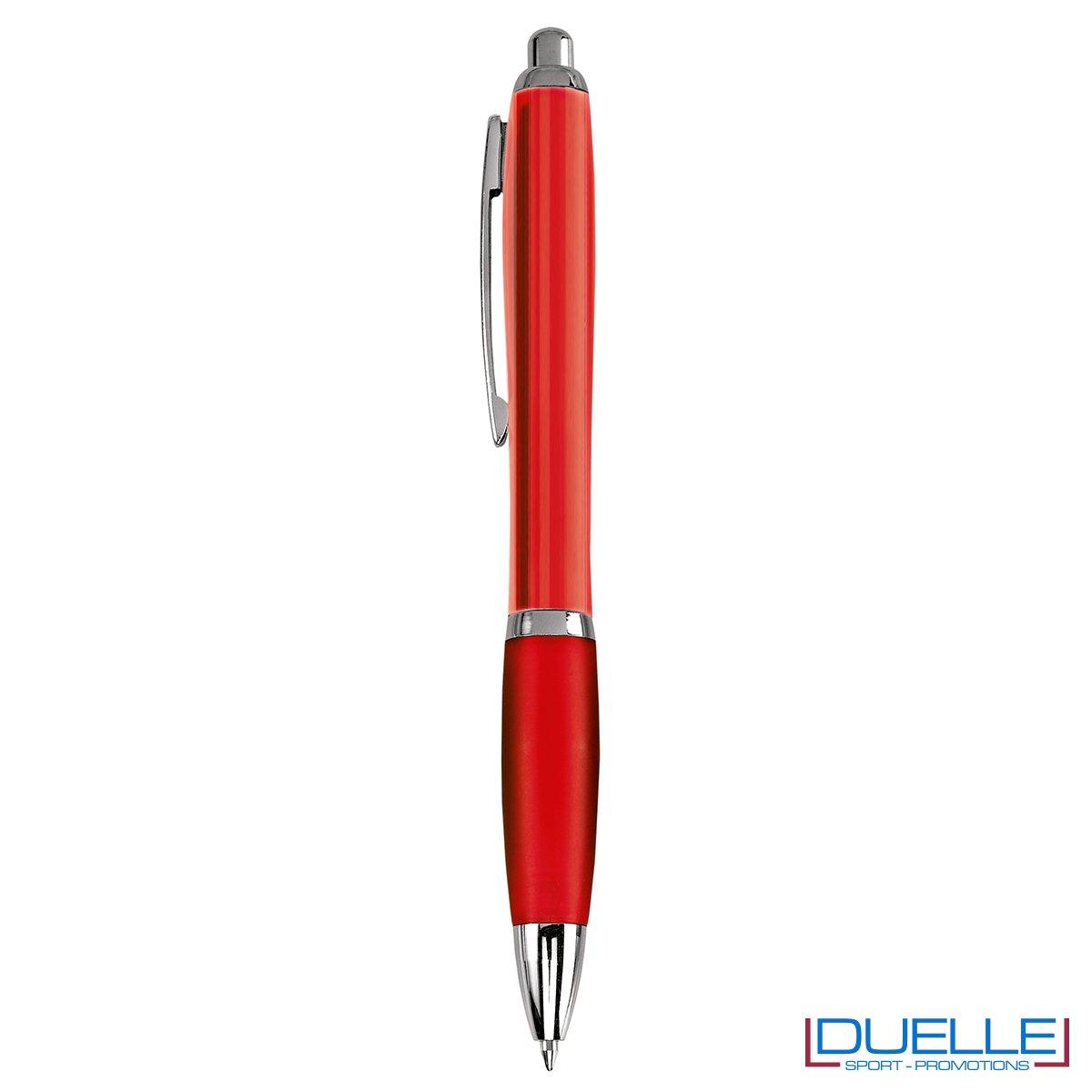 Penna economica personalizzata fusto traslucido colore rosso