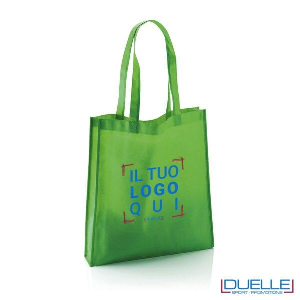 Shopper borsa in TNT personalizzata con soffietto colore verde