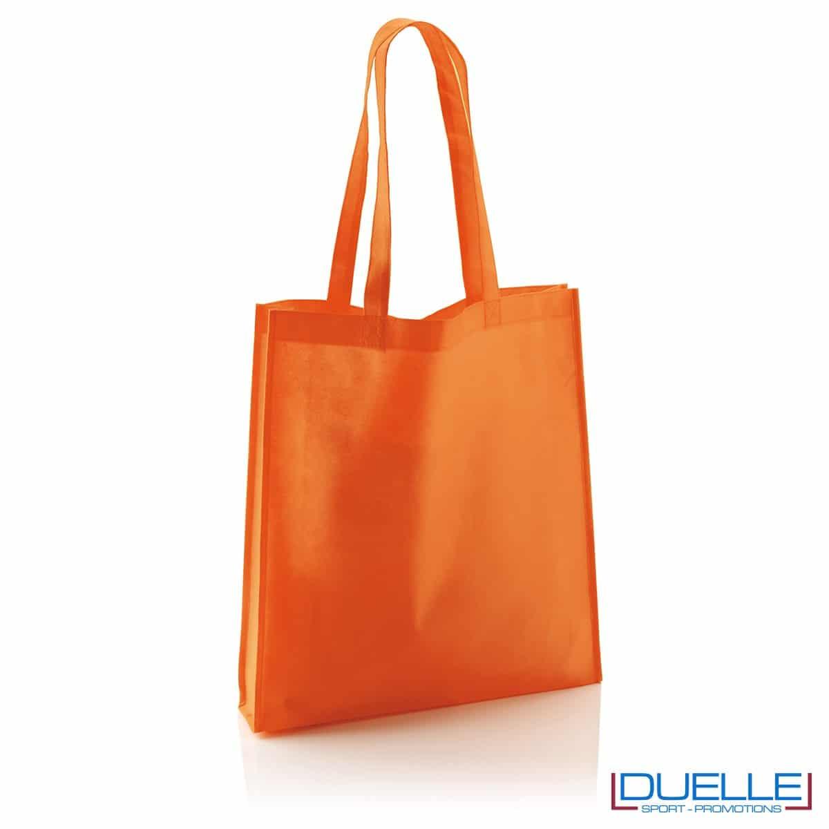 Shopper borsa in TNT personalizzata con soffietto colore arancione