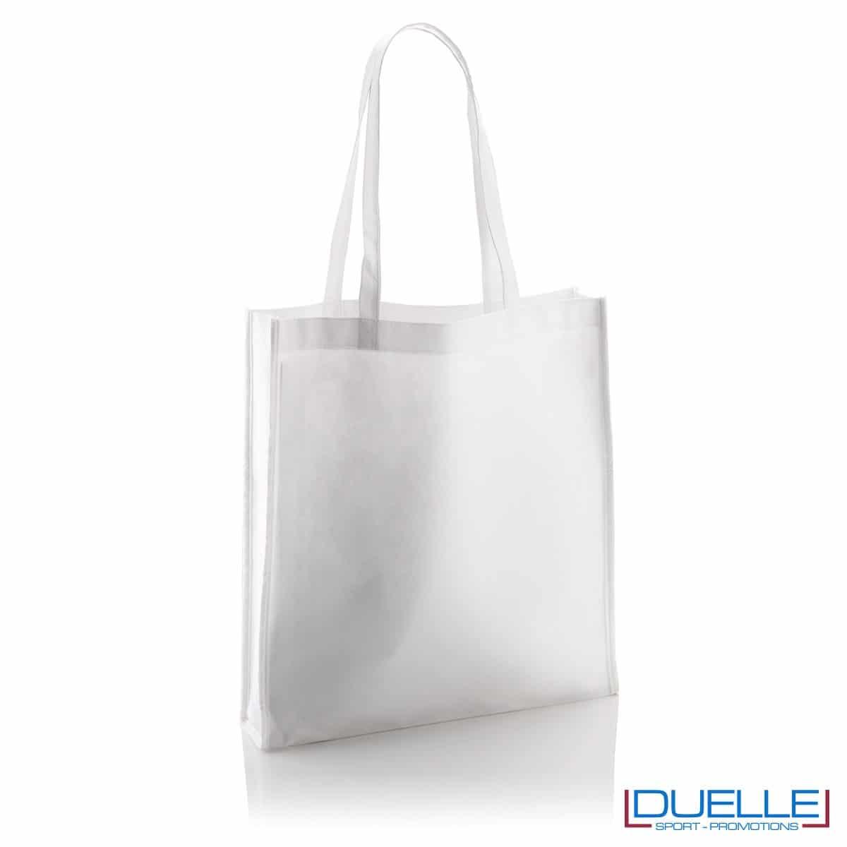Shopper Personalizzate in TNT con soffietto colore bianco