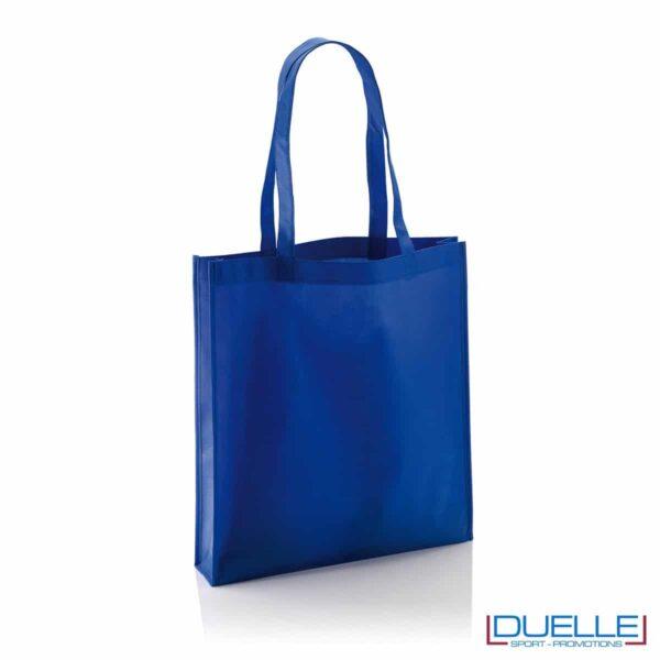 Shopper Personalizzate in TNT con soffietto colore blu royal
