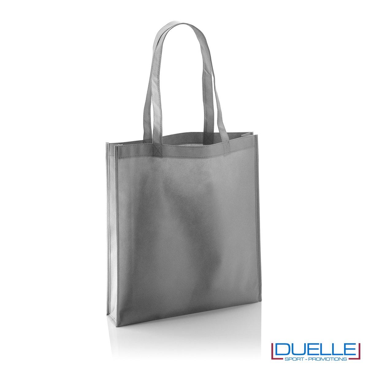 Shopper borsa in TNT personalizzata con soffietto colore grigio