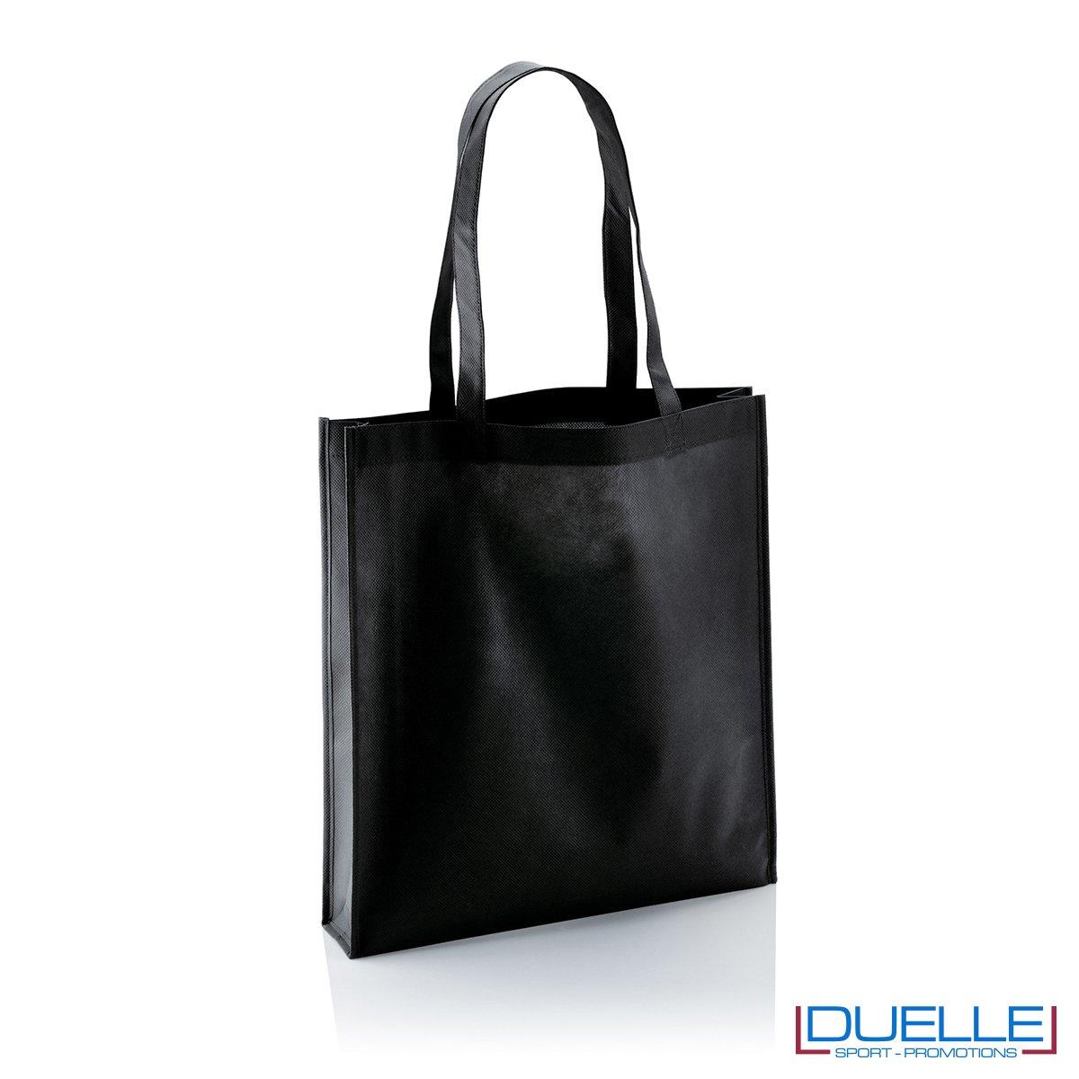 Shopper borsa personalizzata in TNT con soffietto colore nero