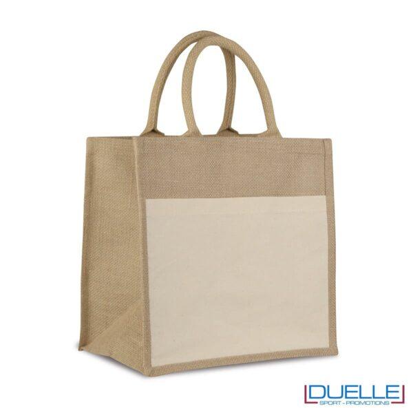 Shopper in iuta con manici corti imbottiti personalizzata con stampe