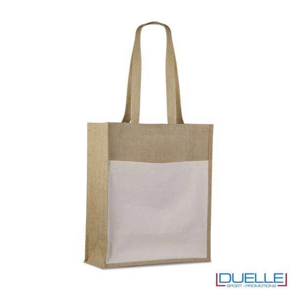 Shopper in iuta con tasca esterna personalizzabile con stampe colorate