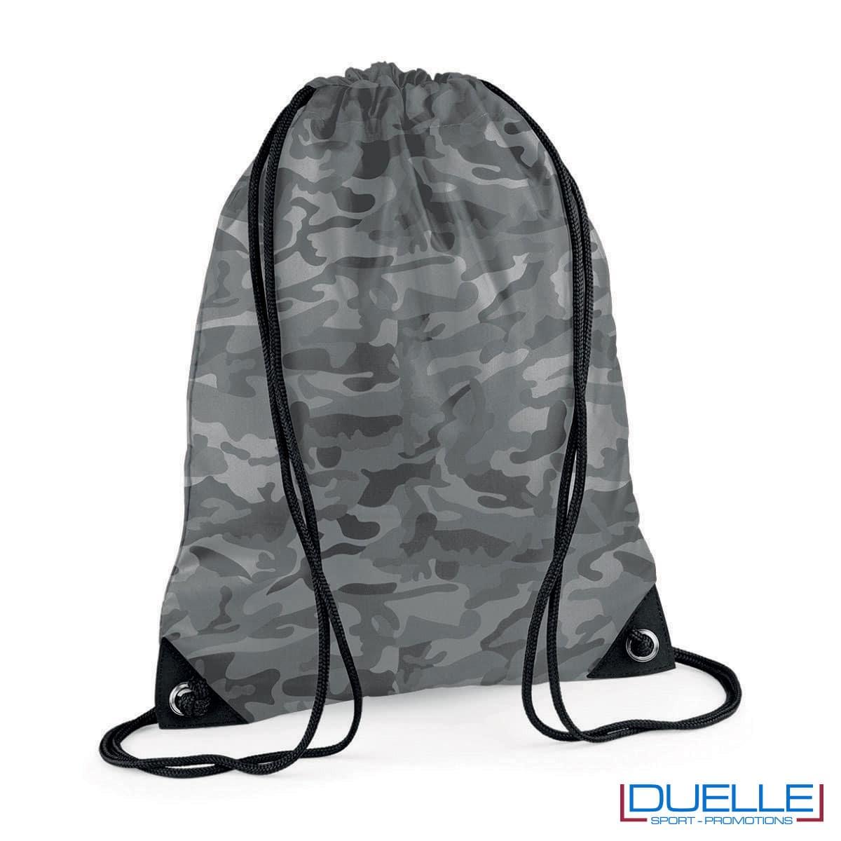 zainetto sportivo personalizzato in nylon colore grigio camouflage