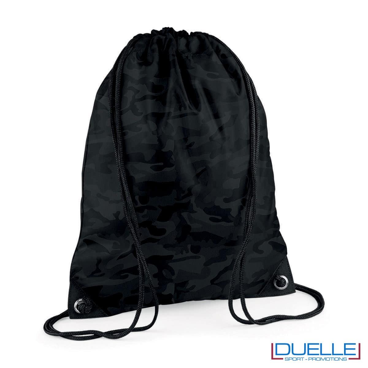 zainetto sportivo personalizzato in nylon colore nero camouflage