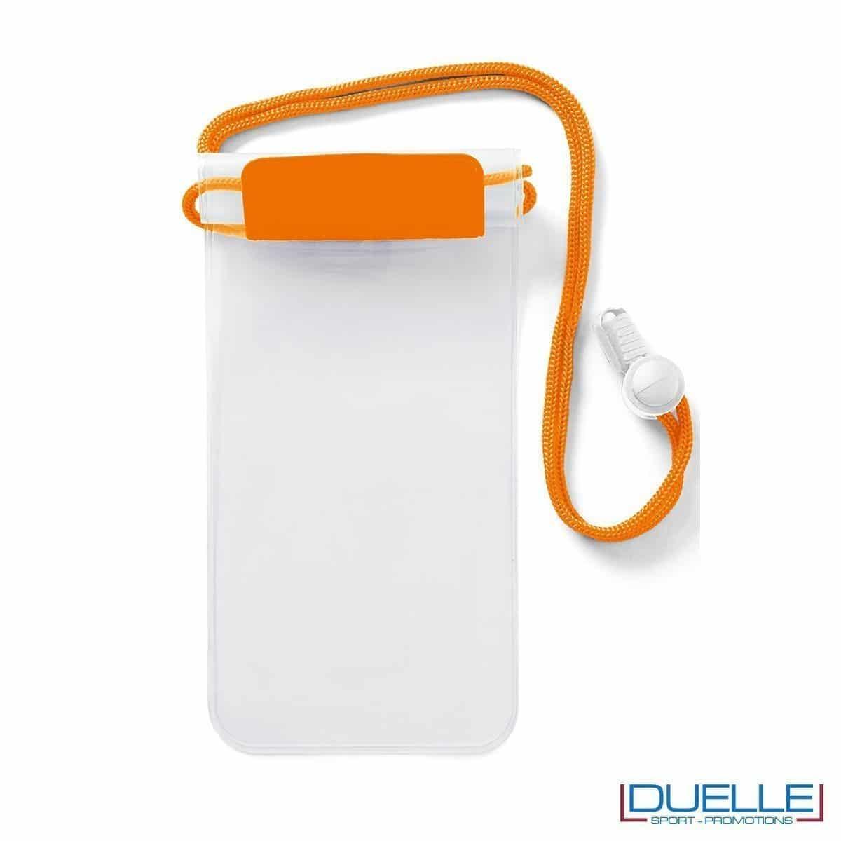 Porta cellulare impermeabile personalizzato con logo colore arancione fluo