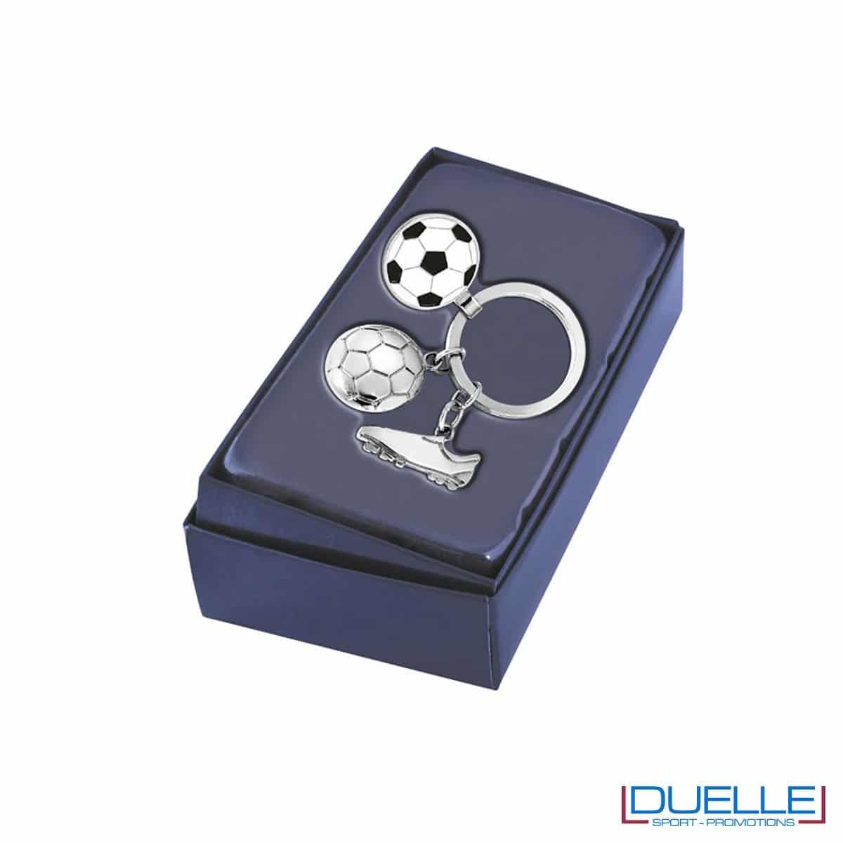 Portachiavi calcio in metallo personalizzato con confezione