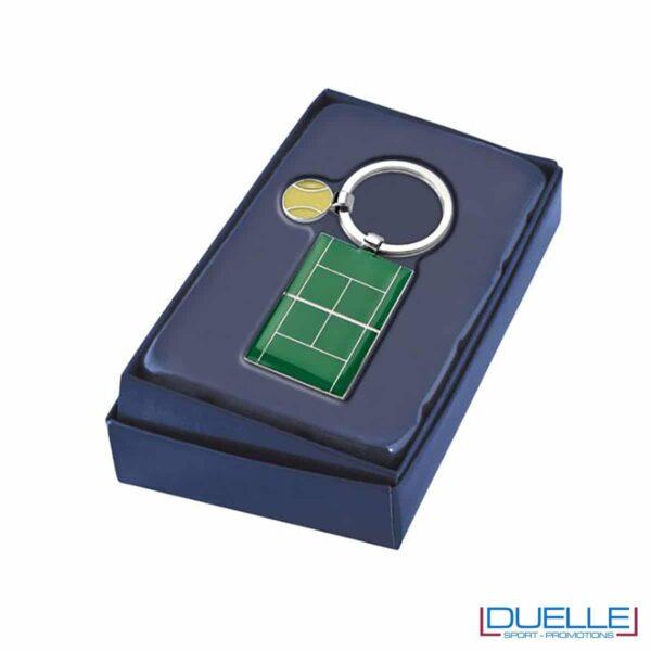 Portachiavi in metallo tennis completo di confezione