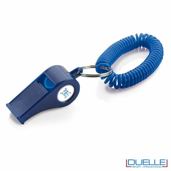fischietto BLU personalizzato con bracciale a molla. Gadget per feste e tifo promozionali