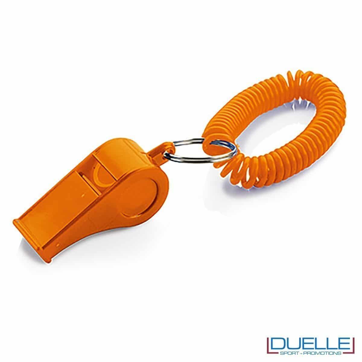 fischietto personalizzato arancione con bracciale a molla - gadget per feste e tifo