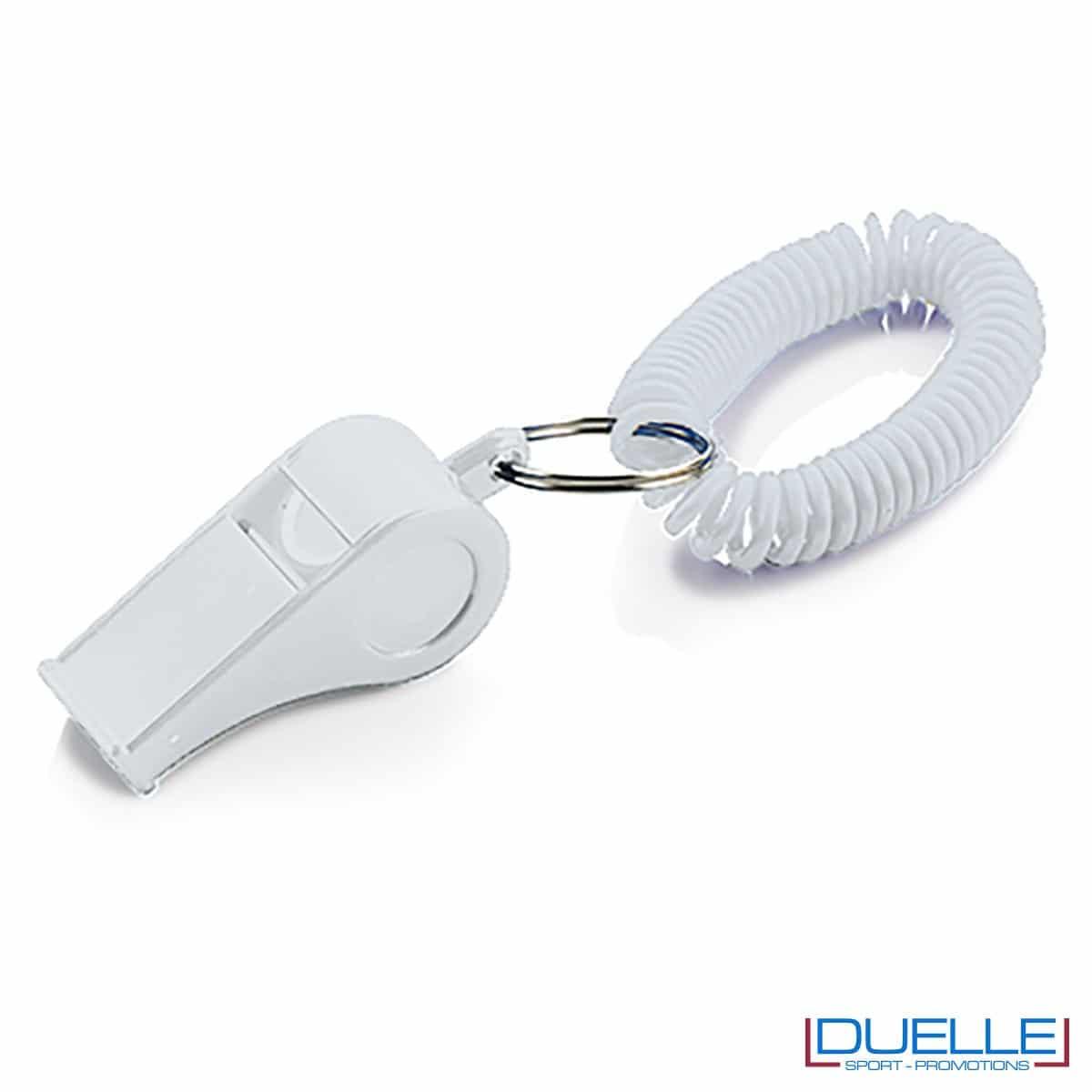 fischietto personalizzato di colore bianco con bracciale a molla