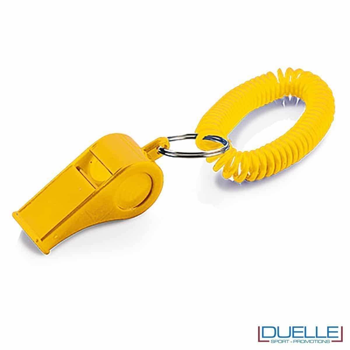 fischietto personalizzato giallo con bracciale a molla - gadget per feste e tifo