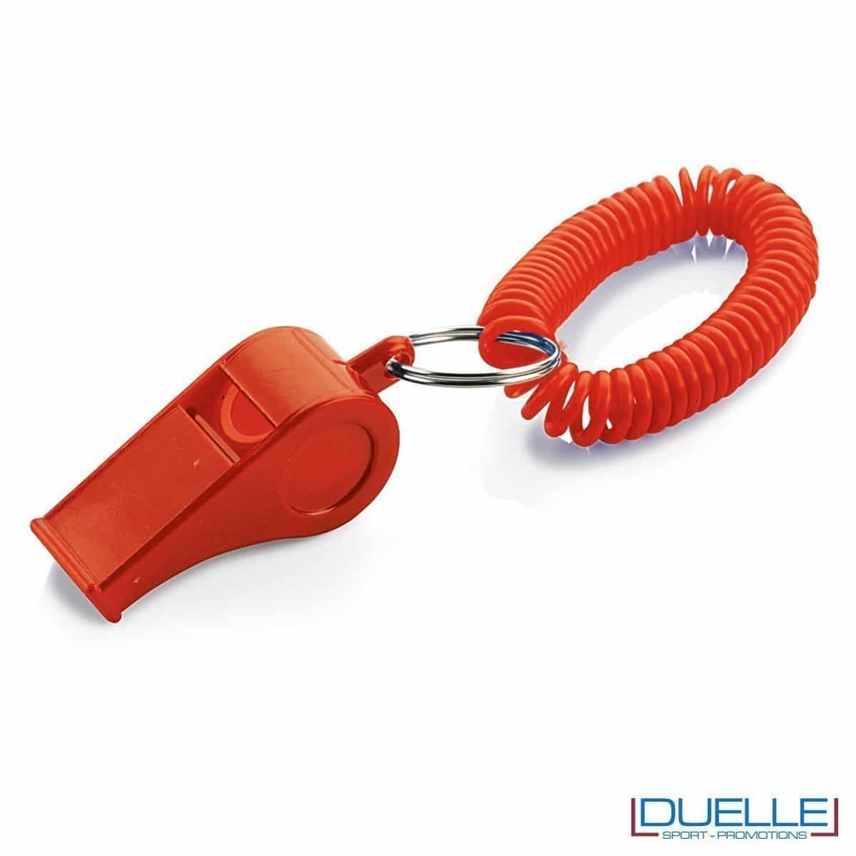 fischietto personalizzato rosso con bracciale a molla - gadget per feste e tifo