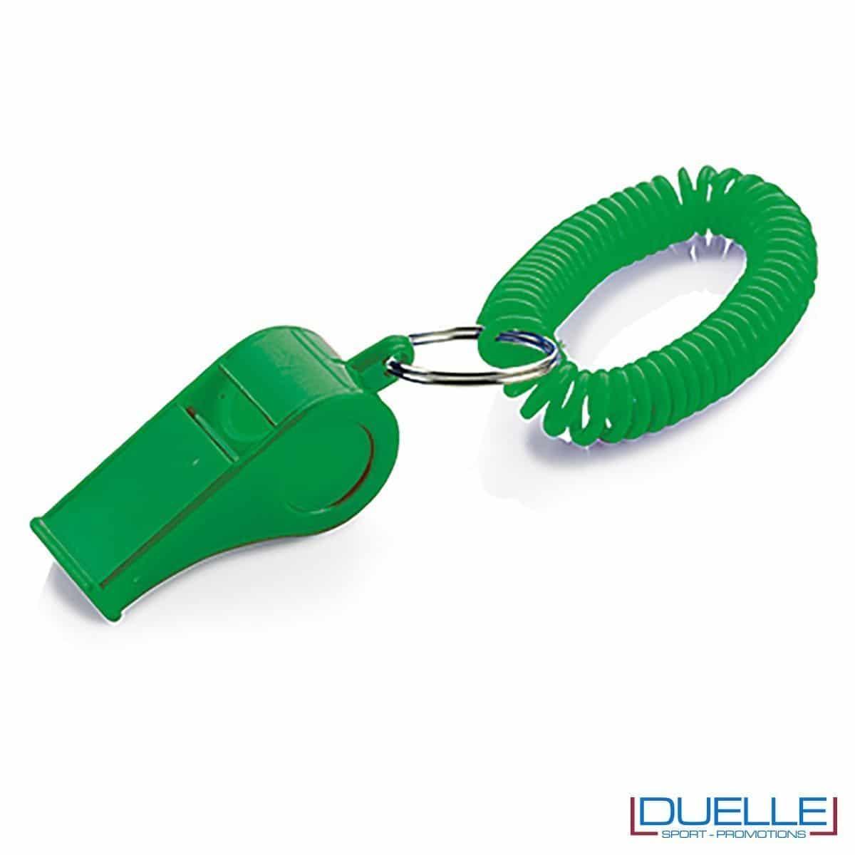 fischietto personalizzato verde con bracciale a molla - gadget per feste e tifo