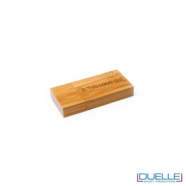 chiavetta USB in legno o bambu personalizzata, gadget ecologici personalizzati