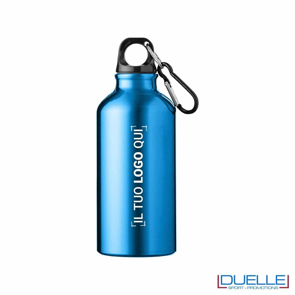 Borraccia personalizzata in alluminio anodizzato colore blu personalizzata con incisione