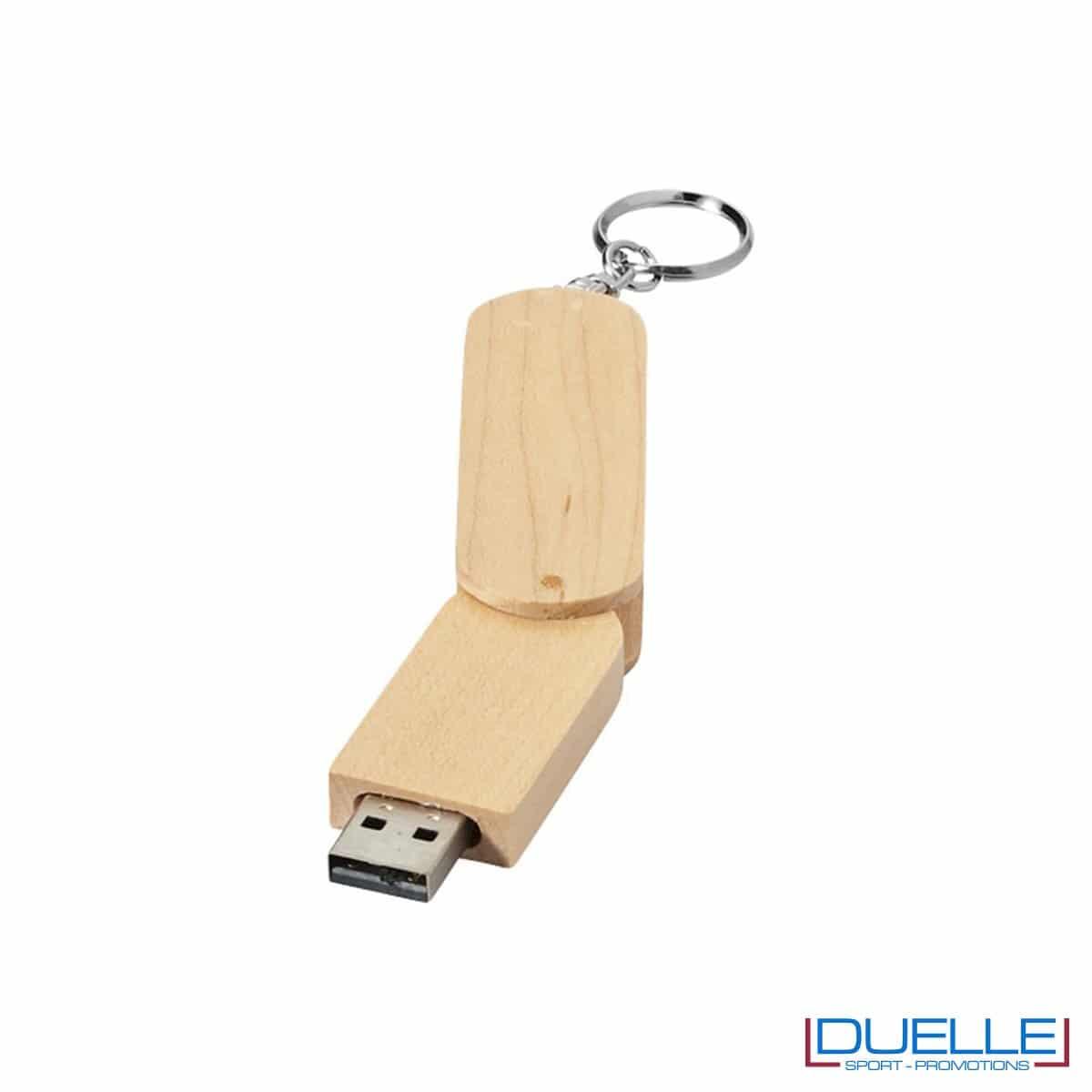 Memoria USB personalizzata con incisione in legno a rotazione