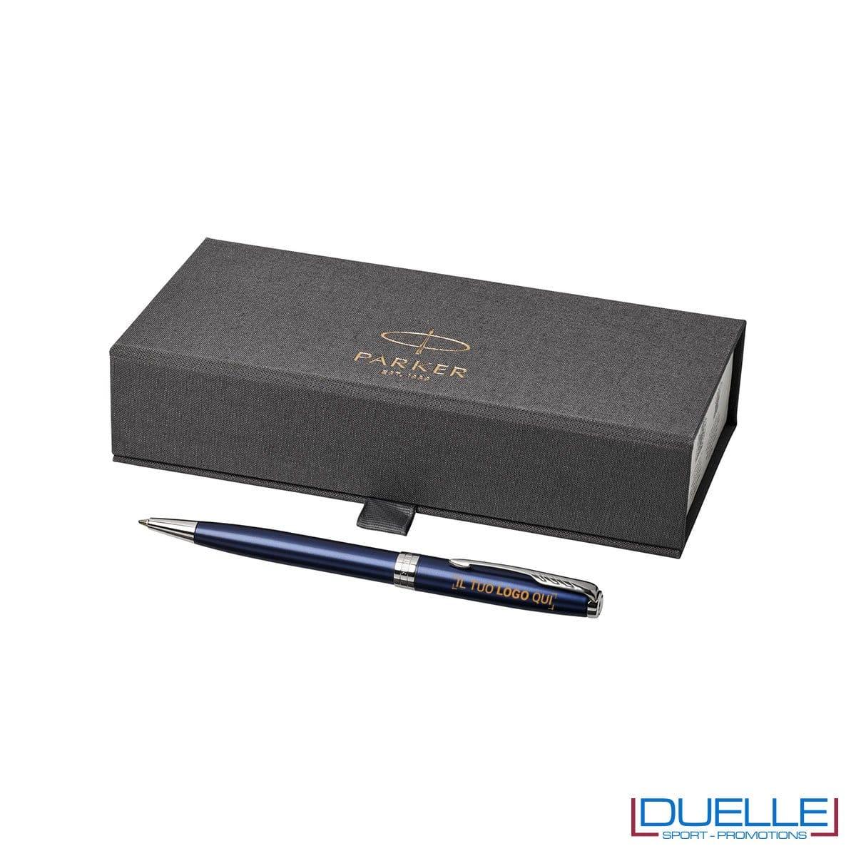 Penna Parker Sonnet personalizzata in colore blu e argento