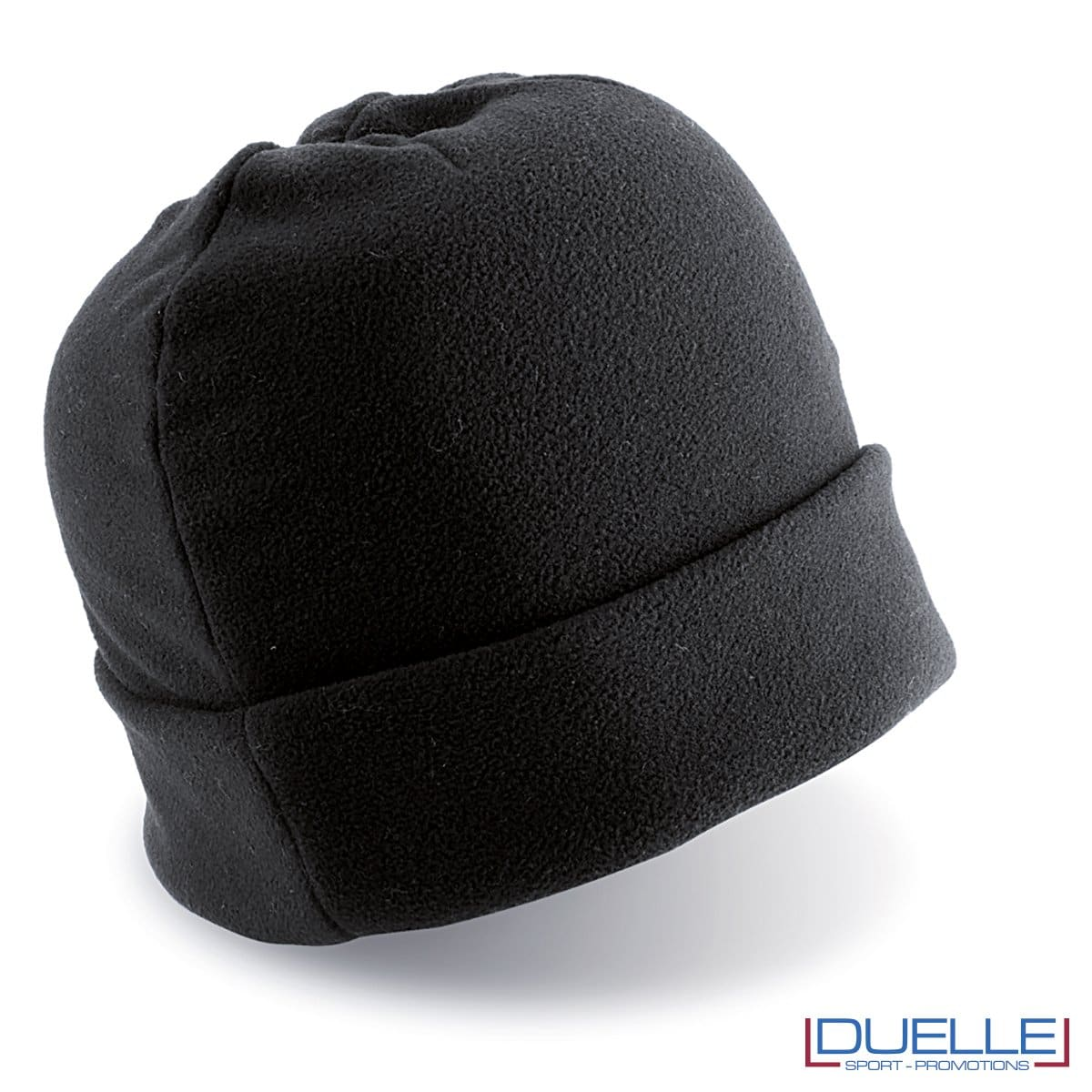 cappello personalizzato in pile colore blu, berretto personalizzato inverno colore nero