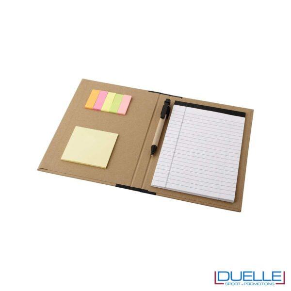 blocco per appunti ecologico nero personalizzato. Blocco con postit e penna