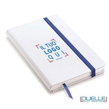 Block notes A5 copertina bianca elastico e segna pagine colore blu