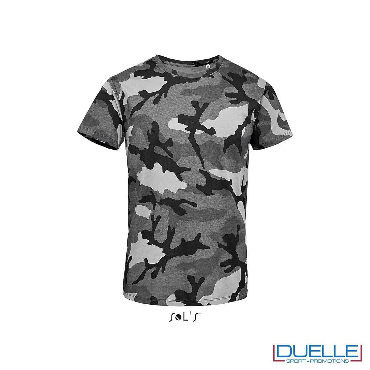 t-shirt personalizzata camouflage, t-shirt mimetico grigio