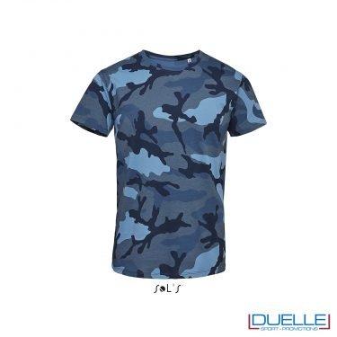 t-shirt personalizzata camouflage, t-shirt mimetica blu