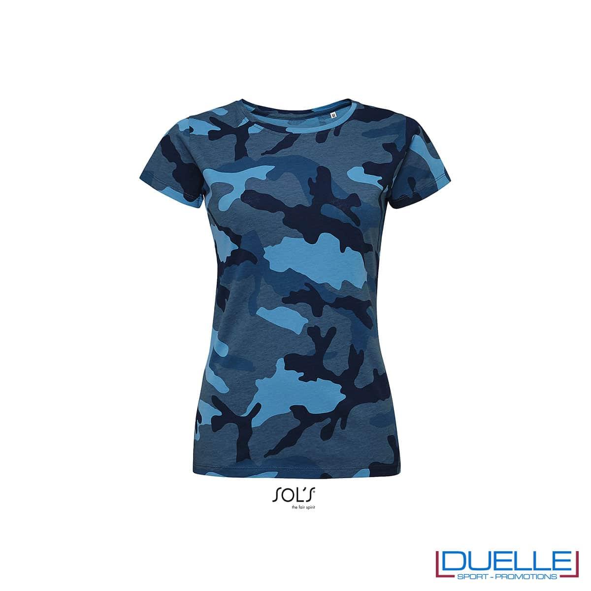 maglietta mimetica blu donna
