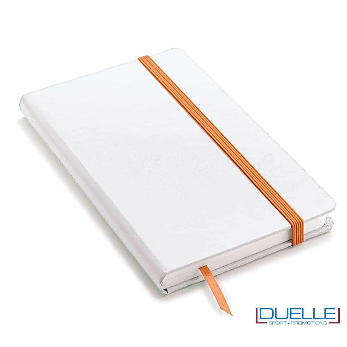 Blocco appunti A5 copertina bianca elastico e segna pagine colore arancione