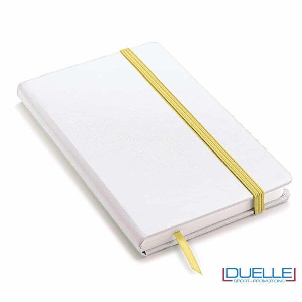 Quaderno appunti A5 copertina bianca elastico e segna pagine colore giallo