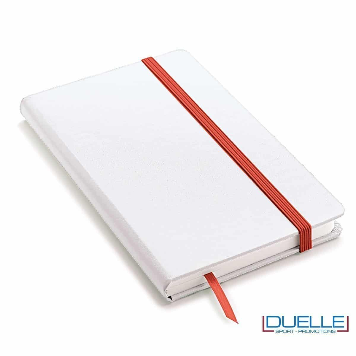Block notes A5 copertina bianca elastico e segna pagine colore rosso