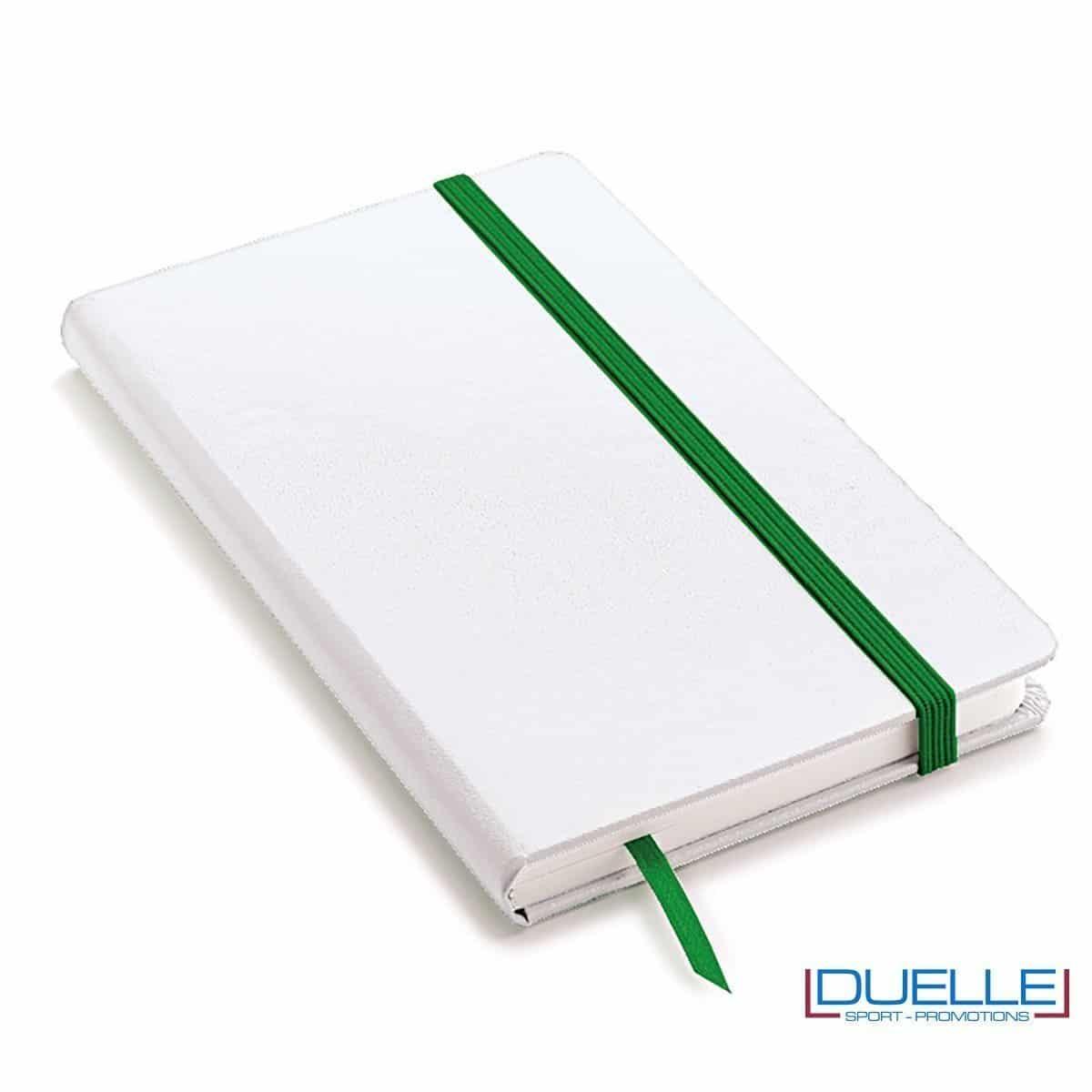 Quaderno appunti A5 copertina bianca elastico e segna pagine colore verde