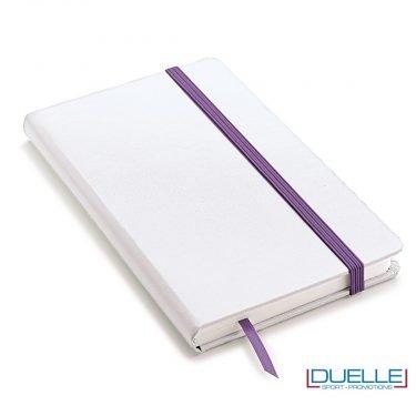 Blocco appunti A5 copertina bianca elastico e segna pagine colore viola