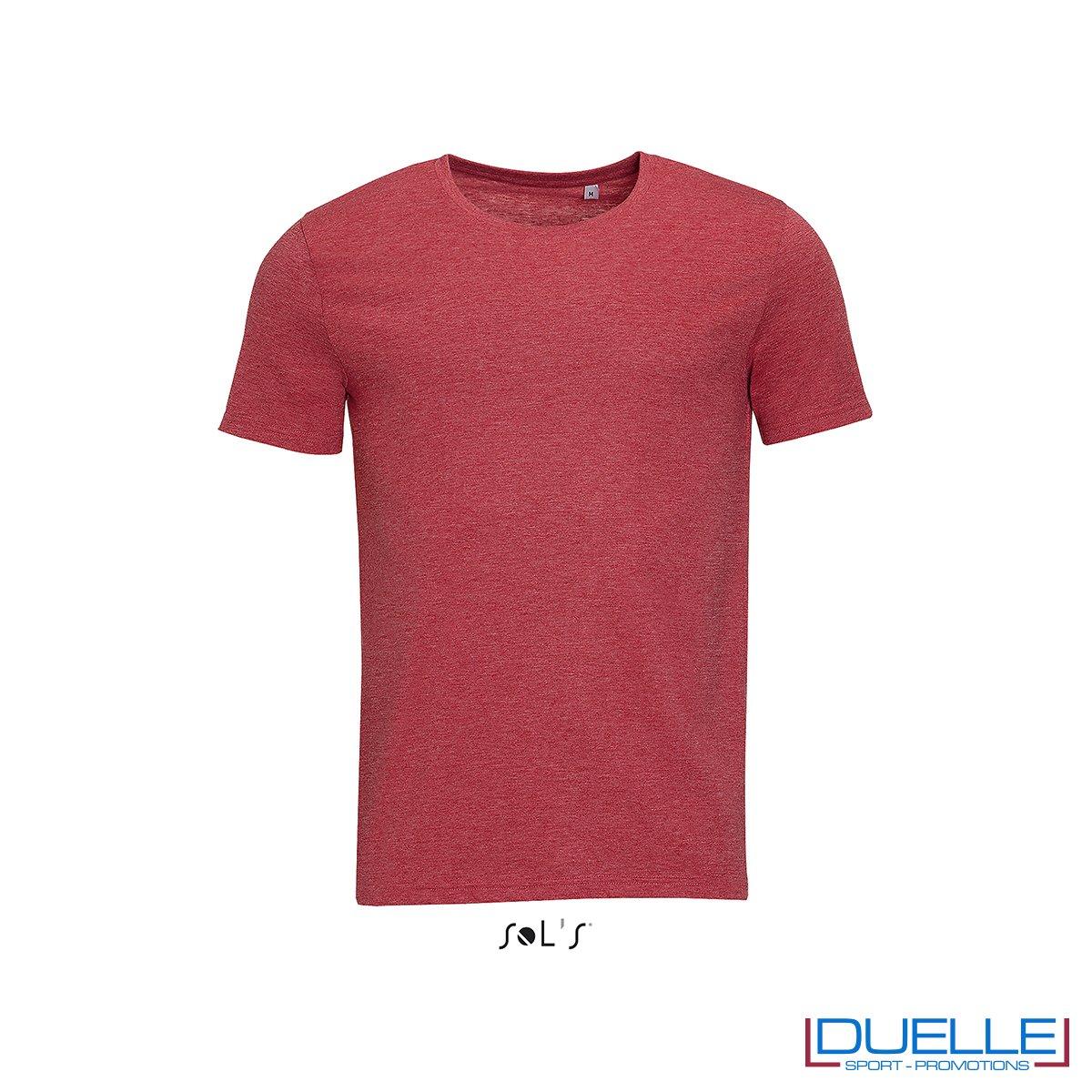 t-shirt personalizzata con tessuto melange in colore rosso, abbigliamento promozionale personalizzato