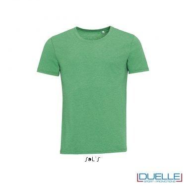 t-shirt personalizzata con tessuto melange in colore verde, abbigliamento promozionale personalizzato