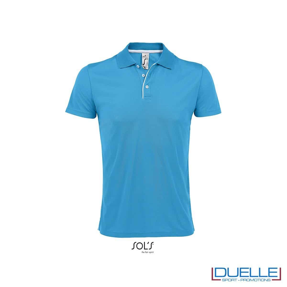 polo personalizzata sportiva in poliestere traspirante colore rosso, polo personalizzata, abbigliamento sportivo personalizzato colore ACQUA
