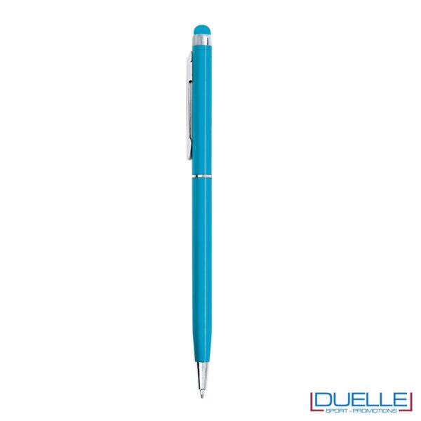 penna touch screen fusto sottile personalizzate in metallo rosse, penne touch personalizzata colore azzurro