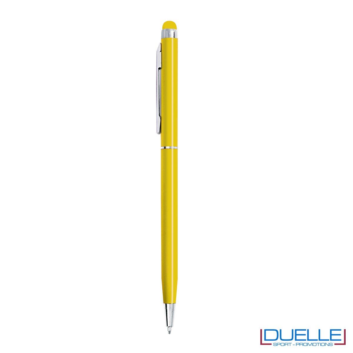 penna touch screen fusto sottile personalizzate in metallo rosse, penne touch personalizzata colore giallo