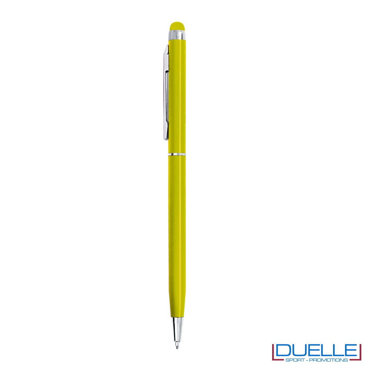 penna touch screen fusto sottile personalizzate in metallo rosse, penne touch personalizzata colore verde lime