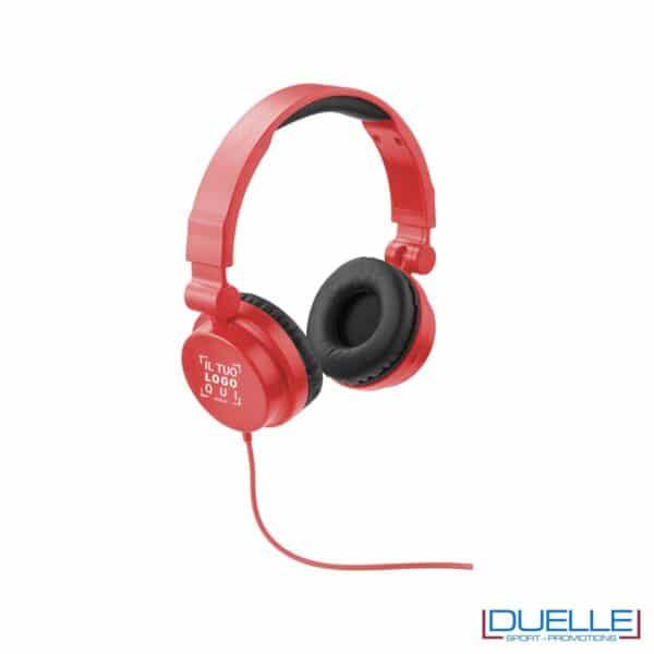cuffie pieghevoli personalizzate promozionali in colore rosso, cuffie promozionali personalizzate