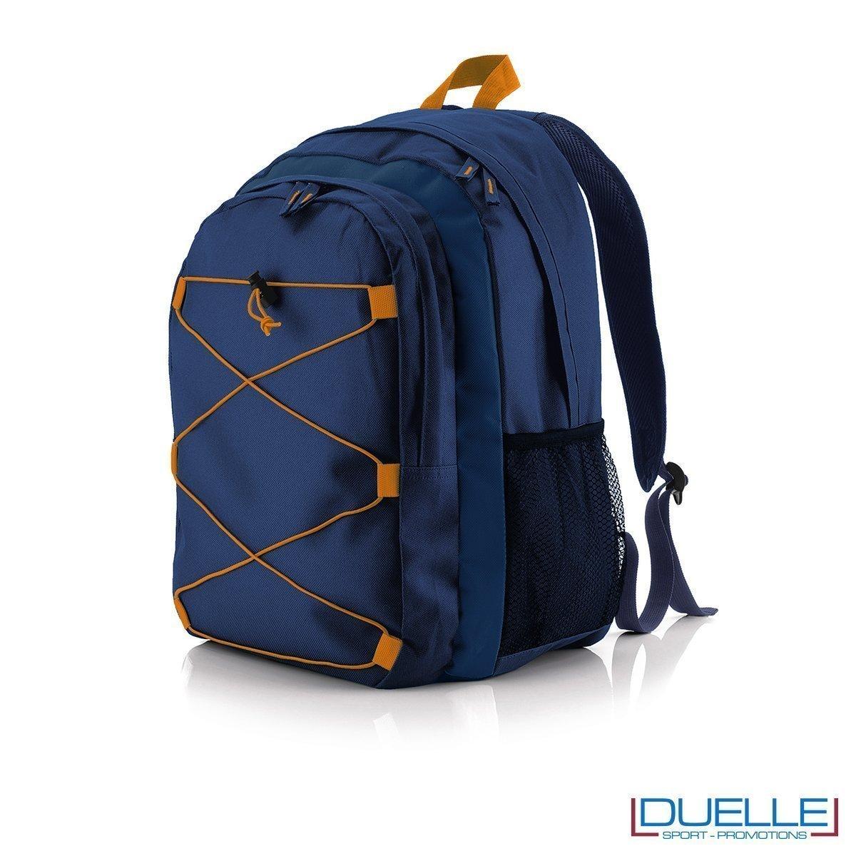 zaino personalizzato sportivo blu navy-arancione, gadget sport trekking. Zaino tipo north face