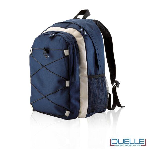 zaino personalizzato sportivo blu navy-beige, gadget sport trekking. Zaino tipo The north face