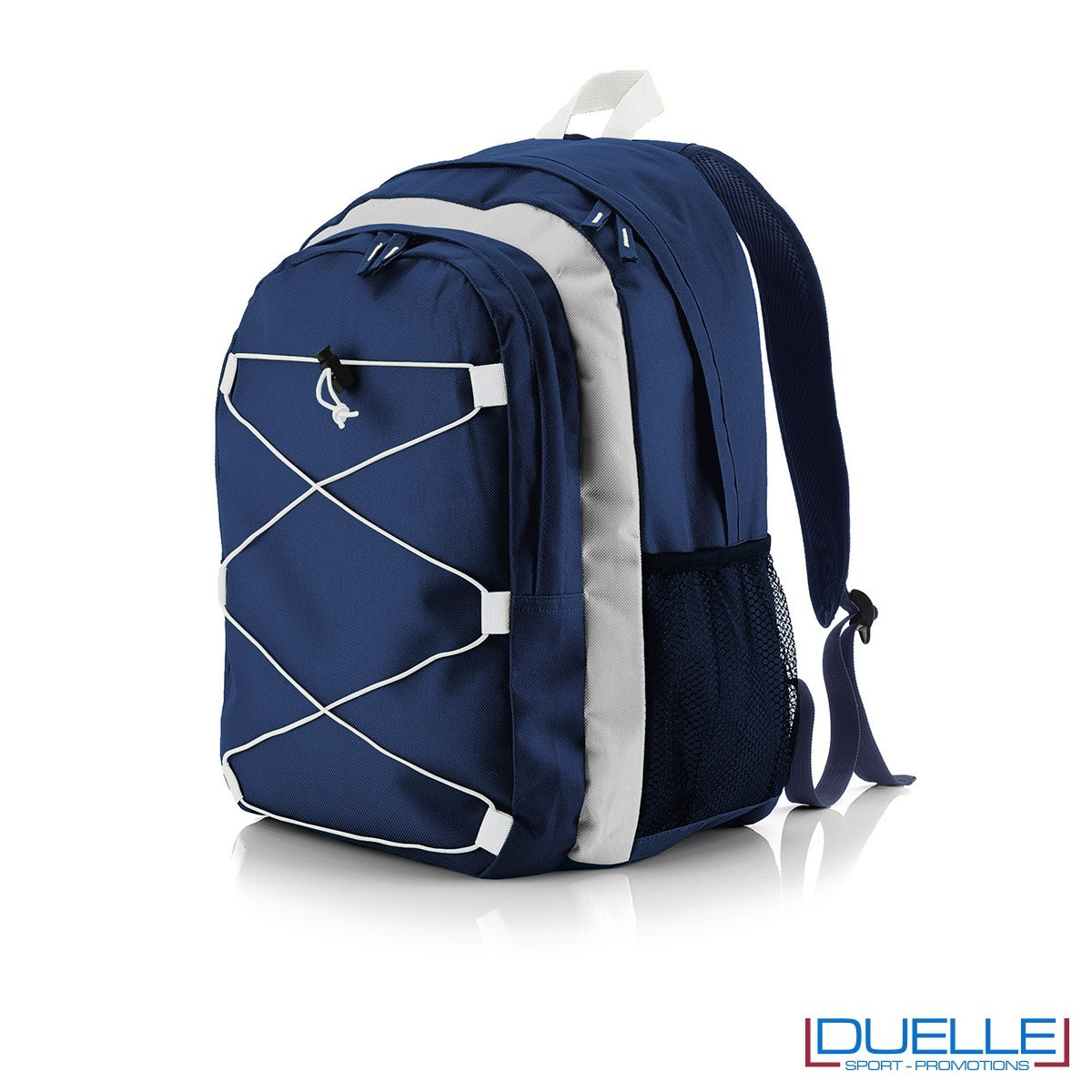 zaino personalizzato sportivo blu navy-bianco, gadget sport trekking. Zaino tipo The north face